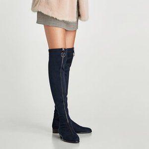 Zara Navy Over-the-Knee Zip Boots